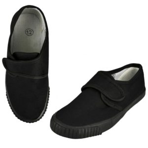 Childrens Velcro Black PE Pumps